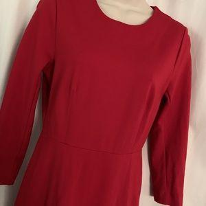 J. Crew Factory Dresses - J. Crew Solid Red Zip Ponte Dress 3/4